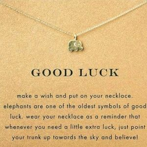 Good Luck Elephant Inspirational message necklace